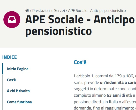 Pratica pensionistica dell' APE Sociale
