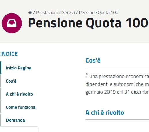 Pratica di pensione quota 100